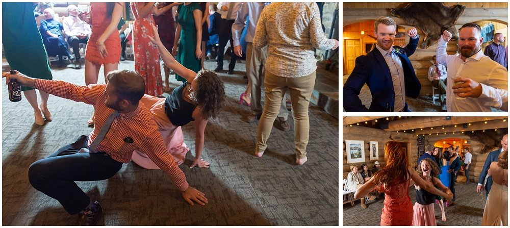 guests dance at gray eagle lodge wedding by chloe jackman photography