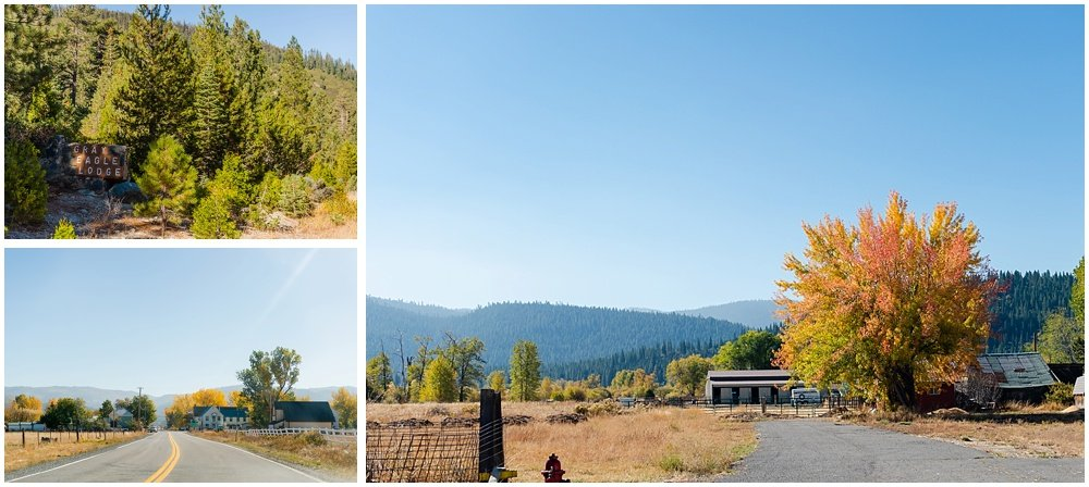 outside venue shots of fall at gray eagle wedding by chloe jackman photography