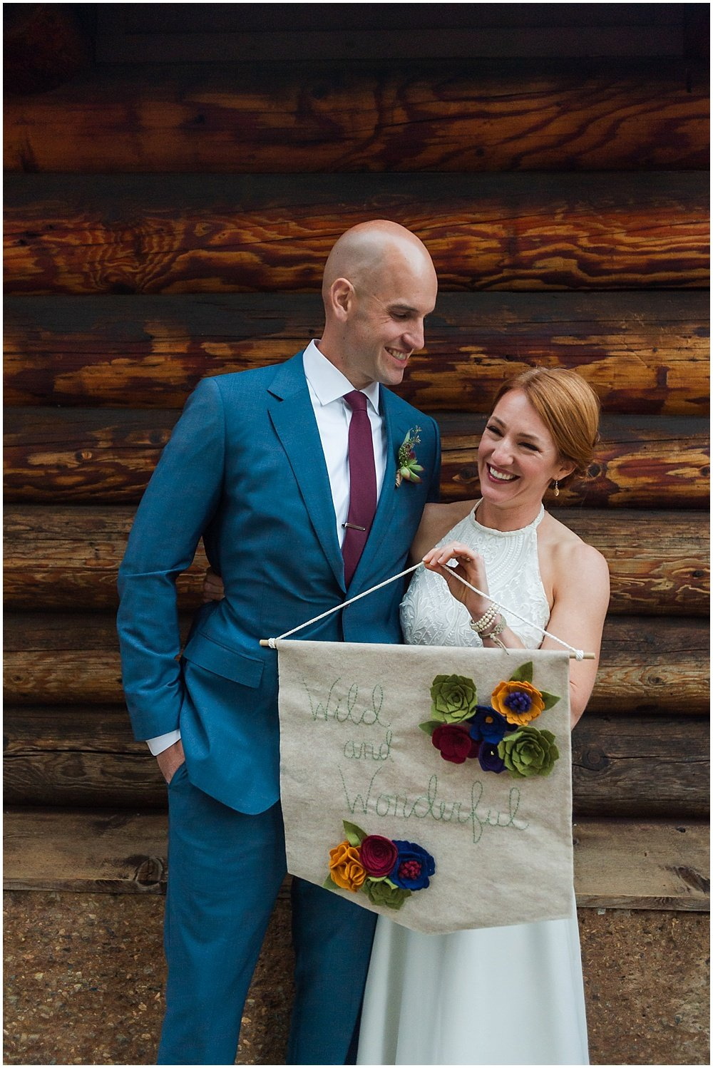 Couple smiles at gray eagle lodge wedding by chloe jackman photography