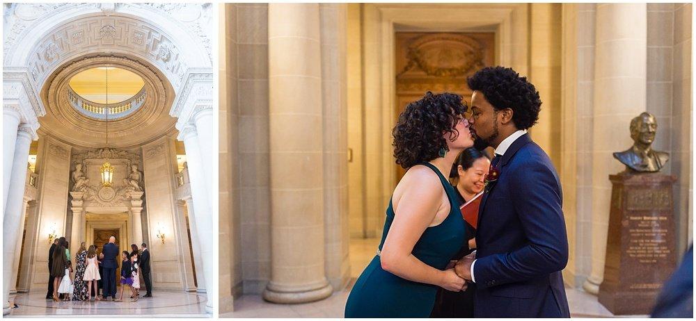 Couple kiss at San Francisco City Hall Wedding