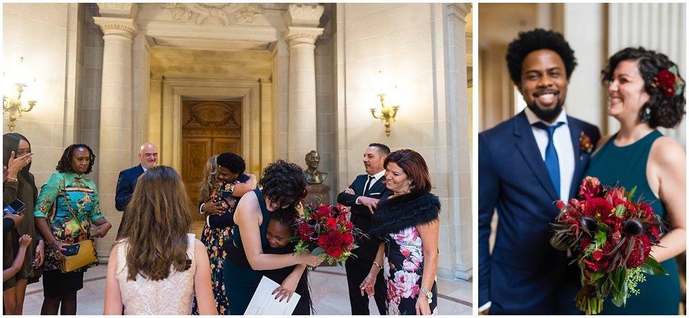 Couple hugs family at San Francisco City Hall Wedding