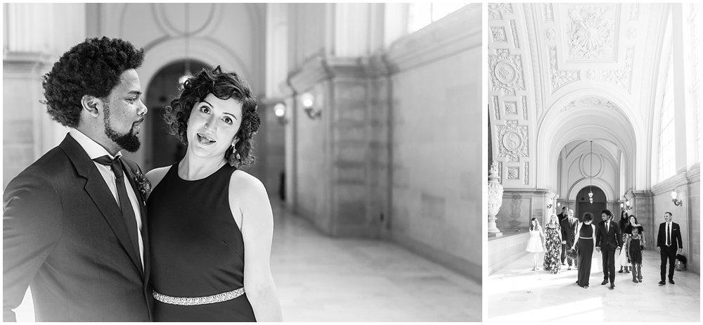 Bride sticks tongue out at San Francisco City Hall Wedding by chloe jackman photography