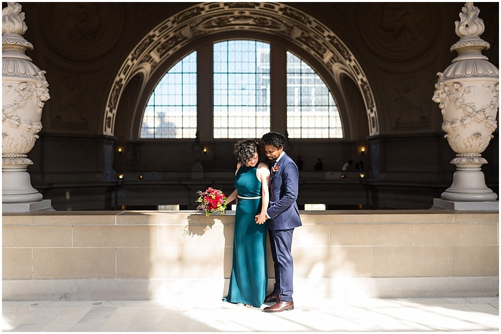 afternoon lighting of couple at San Francisco City Hall Wedding by chloe jackman photography