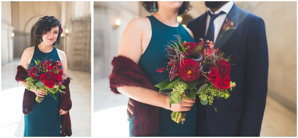 close up of flowers at San Francisco City Hall Wedding by chloe jackman photography