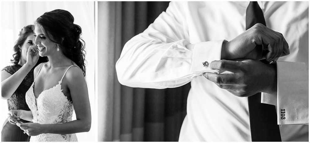 Groom and bride getting dressed for Tehema Golf Club Wedding
