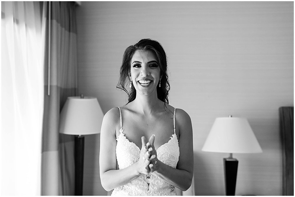 Excited bride at Tehema Golf Club Wedding by chloe jackman photography