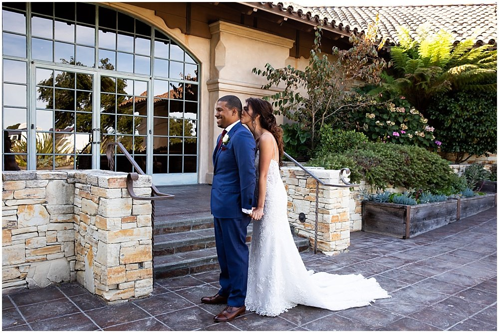 kiss during first look at tehama golf club wedding