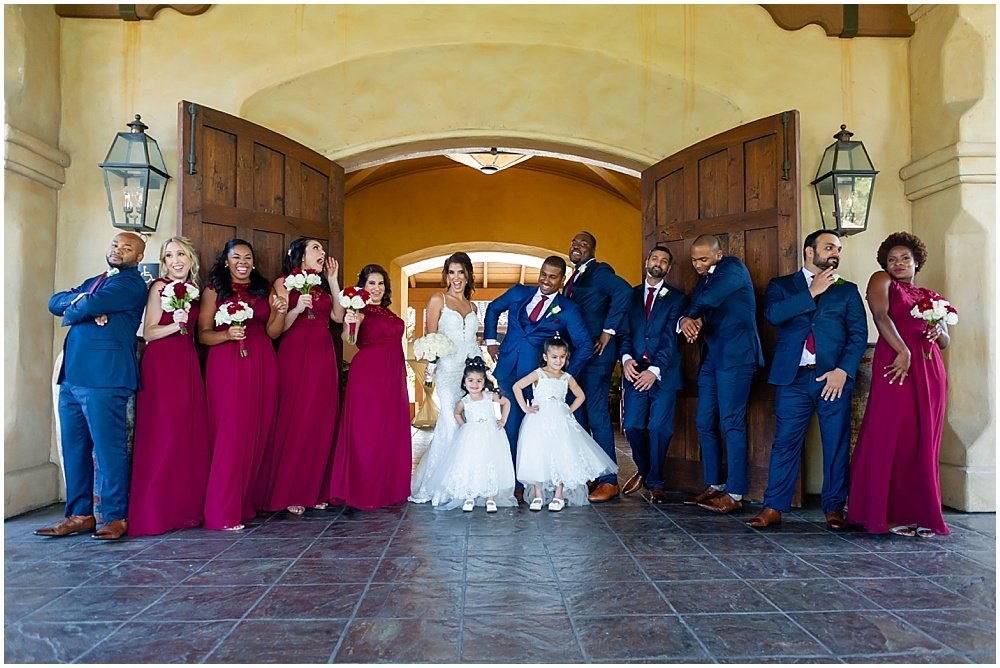 wedding party group shot at tehama golf club wedding by chloe jackman photography