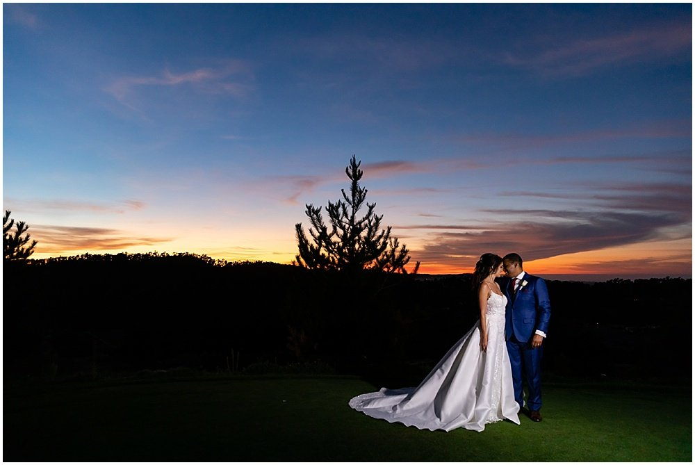 Sunset portrait of couple at tehama golf club wedding by chloe jackman photography