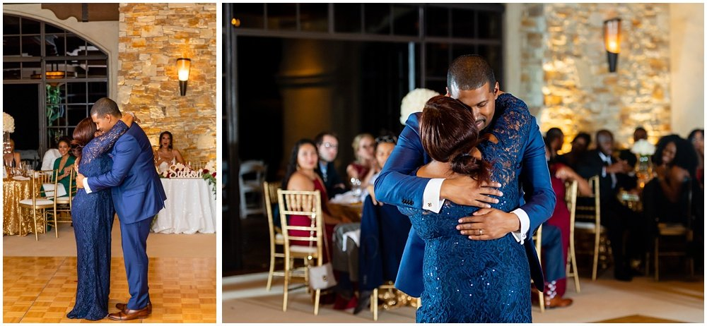 Groom dances with mom at tehama golf club wedding