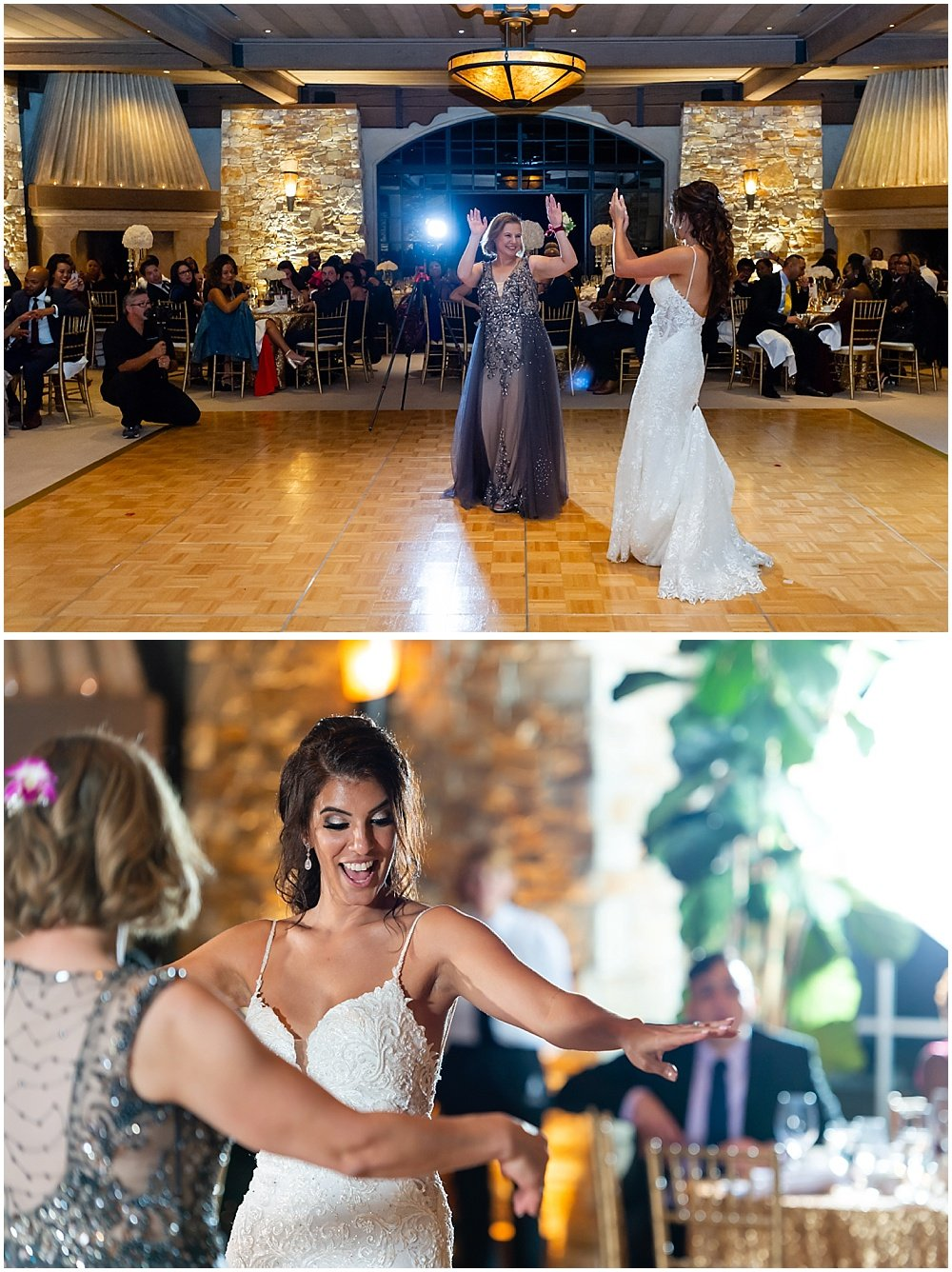 Bride dances with mom at tehama golf club wedding