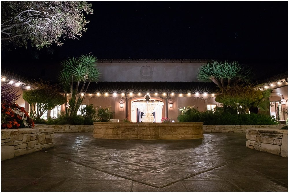 Outside the reception at night at tehama golf club wedding