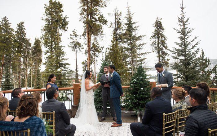 Bride and Groom at Breckenridge wedding by chloe jackman photography