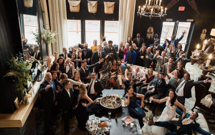 Group shot at Breckenridge wedding by chloe jackman photography
