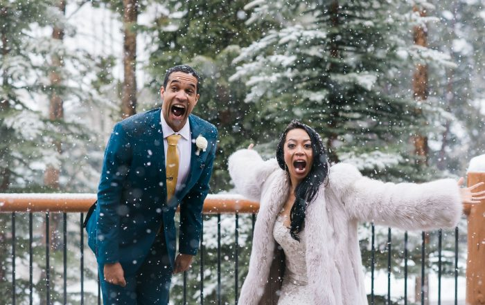 Snow coming down at Breckenridge wedding by chloe jackman photography