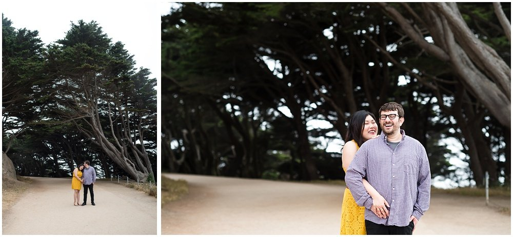 candid couple laughing in foggy engagement photos by Chloe Jackman Photography