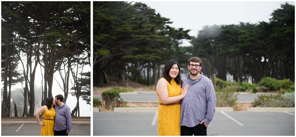 couple stands in front of trees for SF engagement photography by Chloe Jackman Photography