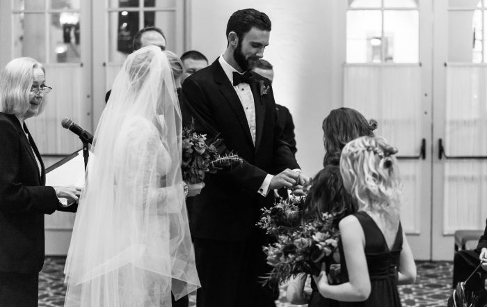 Groom gives daughters rings at Olympic Club wedding by chloe jackman photography