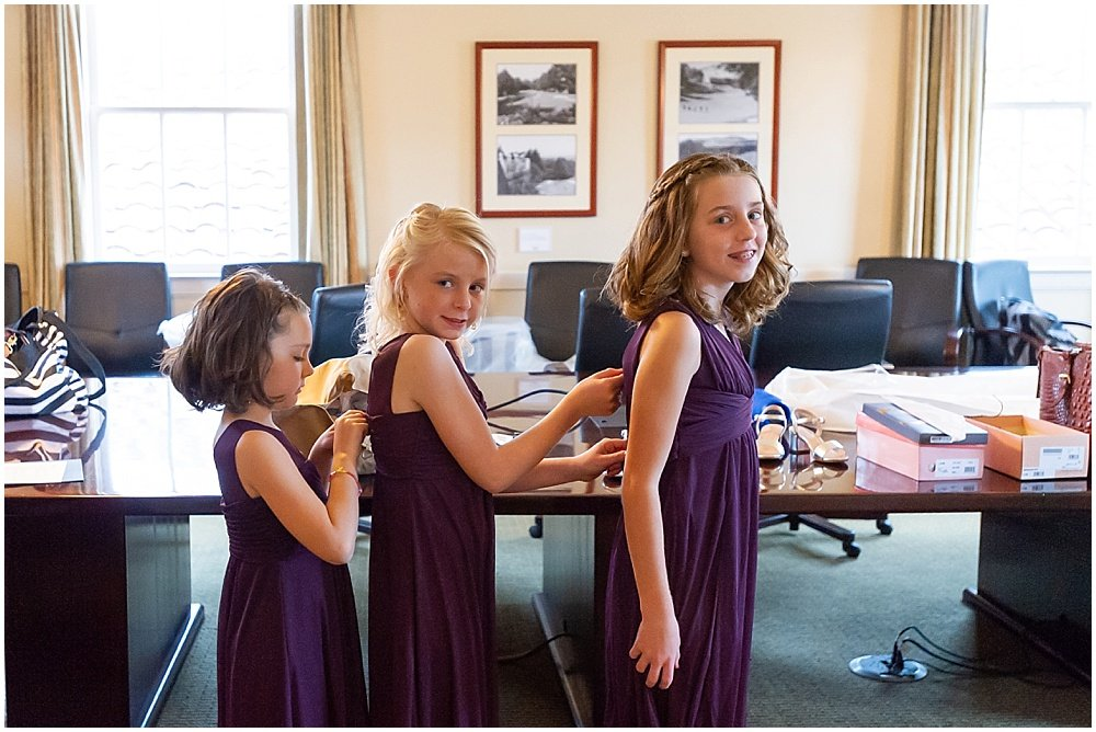 daughters help each other with dresses before the Olympic Club Wedding by chloe jackman photography