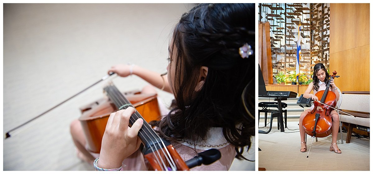 practicing cello before ceremony while Bay Area Bar and Bat Mitzvah photography is happening