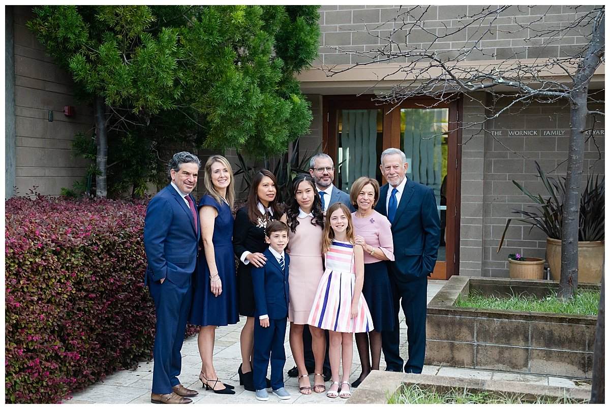 Family photos with aunts and uncle for Bay Area Bar and Bat Mitzvah photography by chloe jackman photography