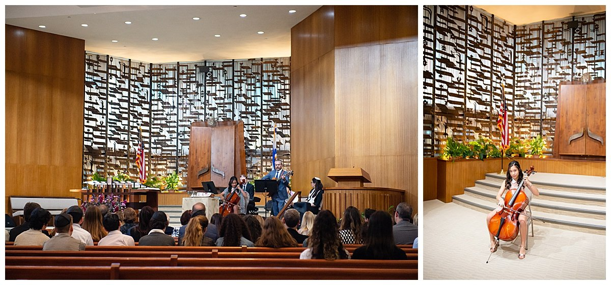 Girl preforms cello during Bat Mitzvah while Bay Area Bar and Bat Mitzvah photography by chloe jackman photography takes photos