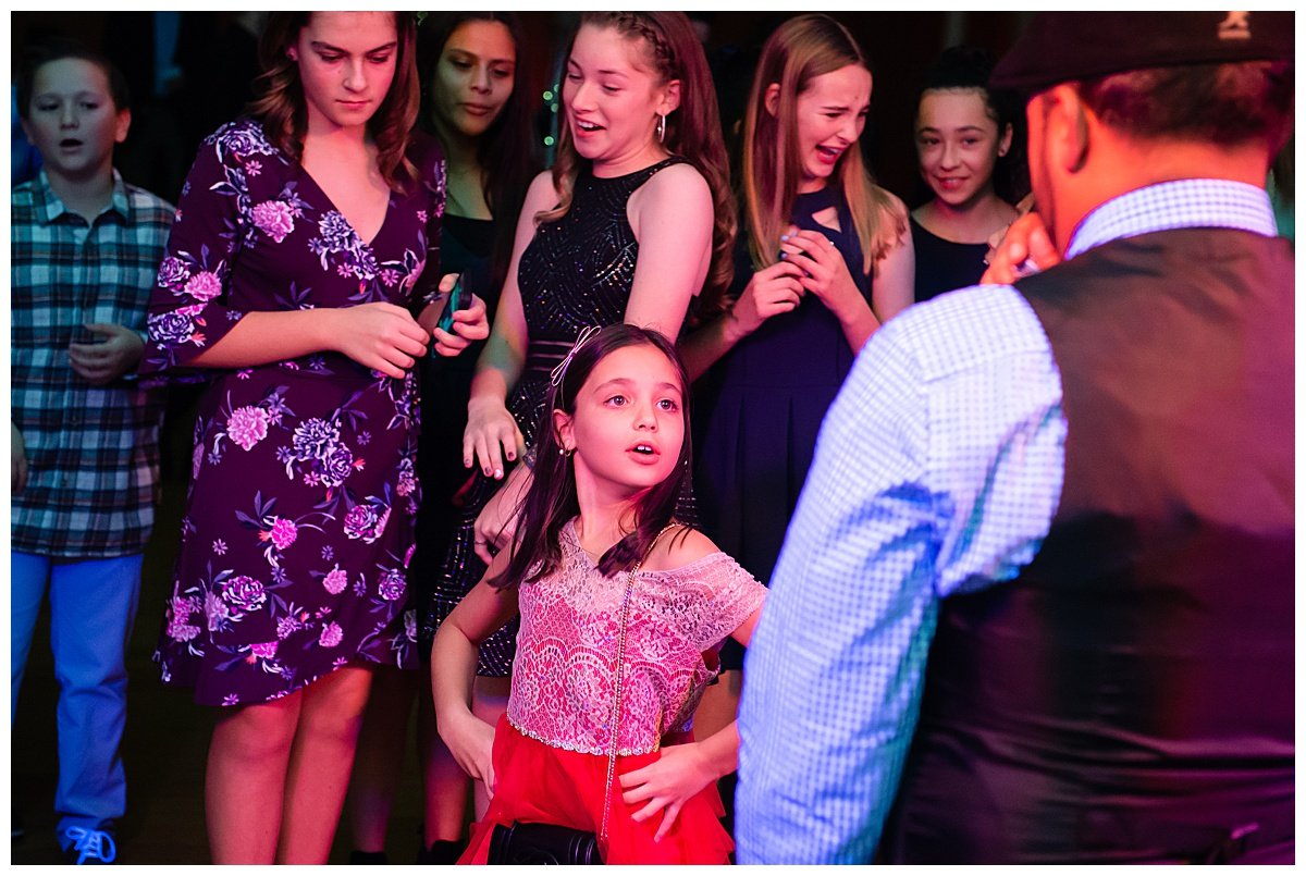 Kid strikes a pose on the dance floor at Bay Area Bar and Bat Mitzvah photography