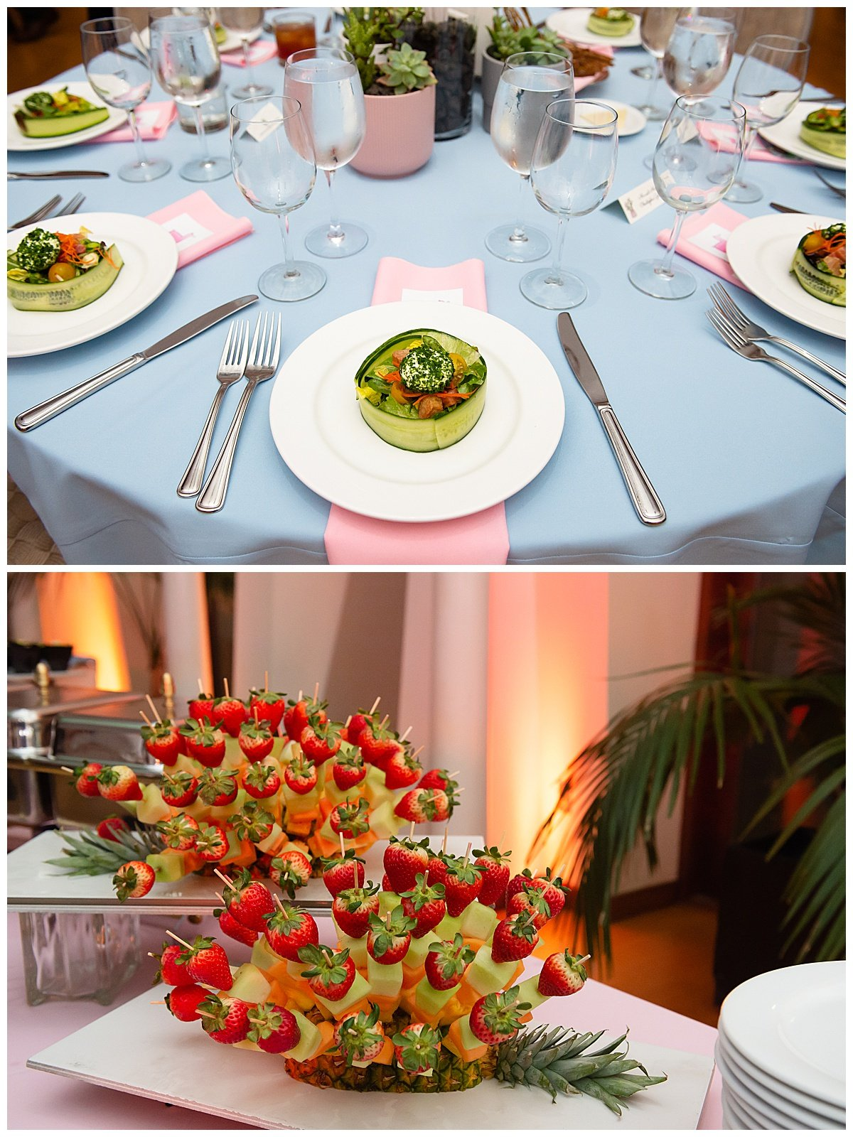 fruit skweres and table settings at Bay Area Bar and Bat Mitzvah photography