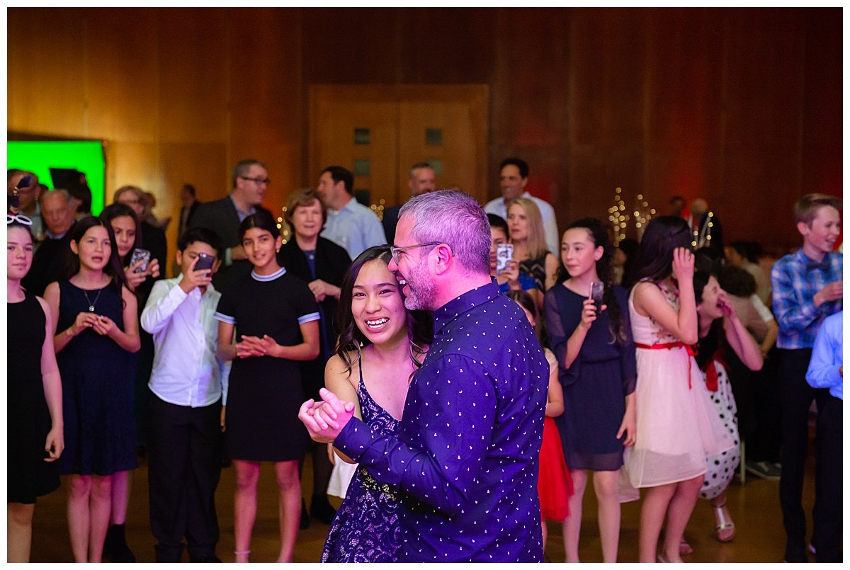 Father and daughter dance at Bay Area Bar and Bat Mitzvah photography by chloe jackman photography