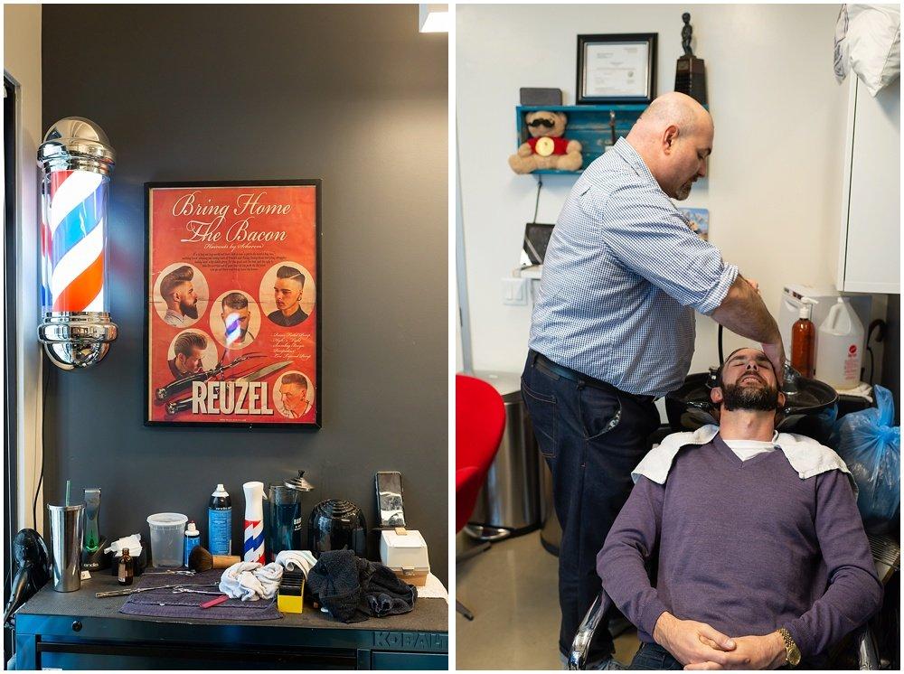 Groom at barber shop before wedding