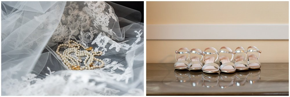 Bride and daughters pearls and shoes