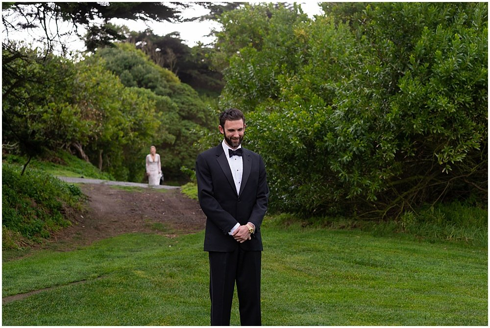 Bride approaches groom for first look before Olympic Club Wedding