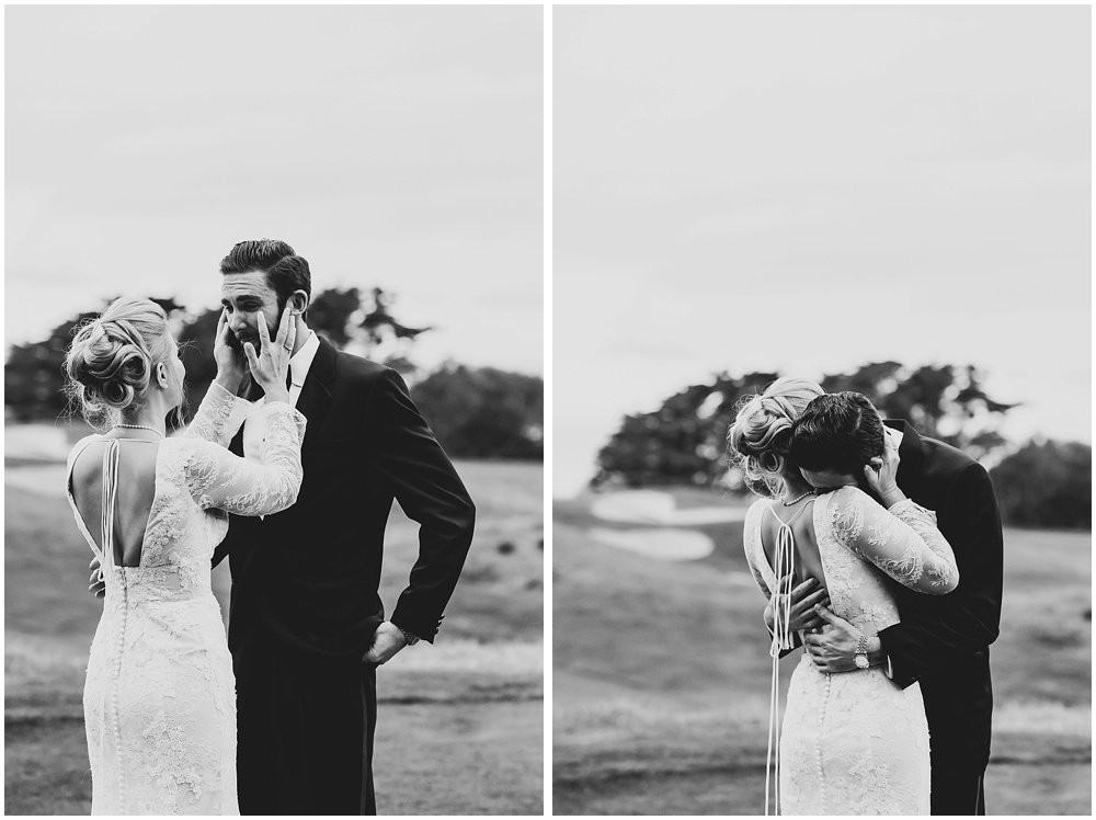 Bride wipes away grooms tears before Olympic Club Wedding by chloe jackman photography