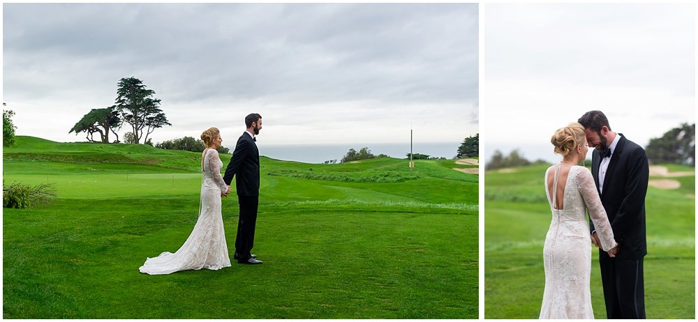 Groom cries as he looks at his bride before Olympic Club Wedding
