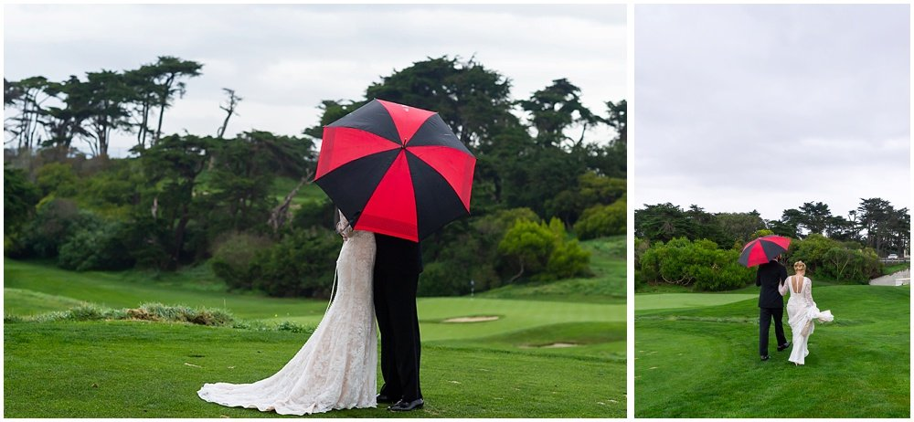 Umbrella blocks bride and groom on golf course before Olympic Club Wedding