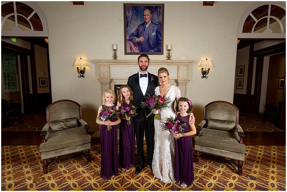 Group shot of bride, groom, and their daughters before Olympic Club Wedding