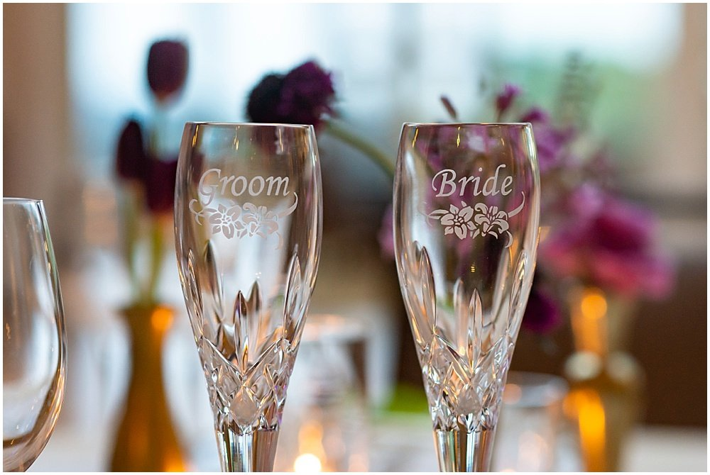 Bride and Groom glasses at Olympic Club Wedding