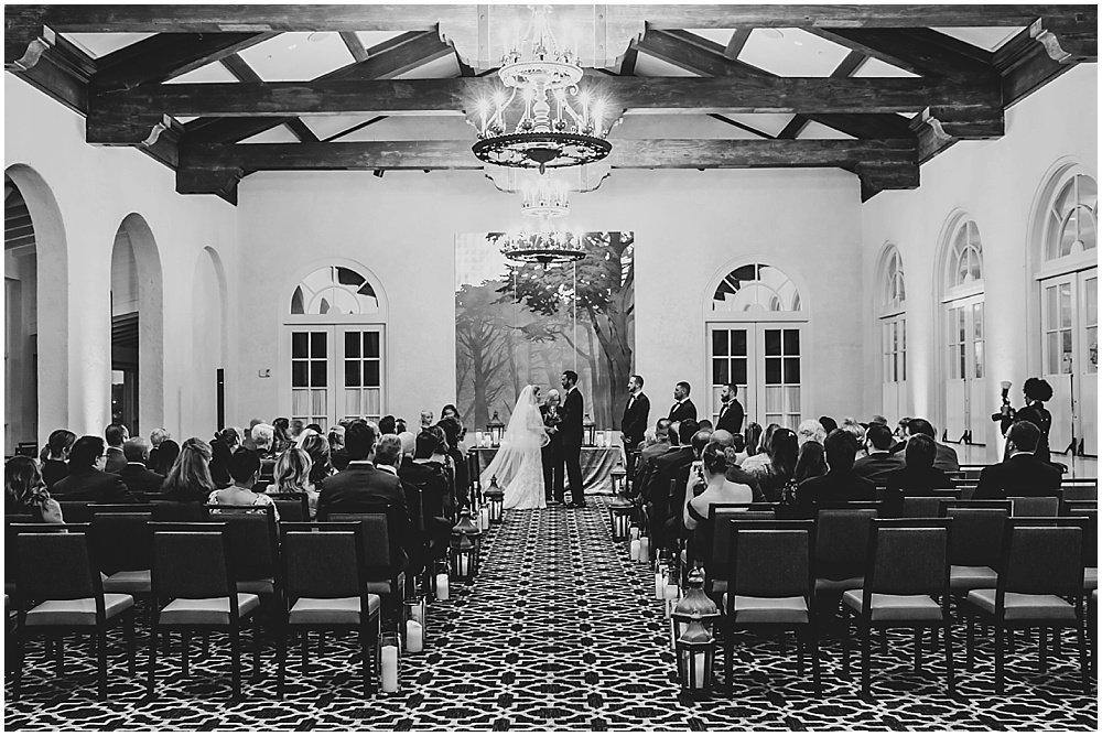 black and white of wedding ceremony at Olympic Club Wedding
