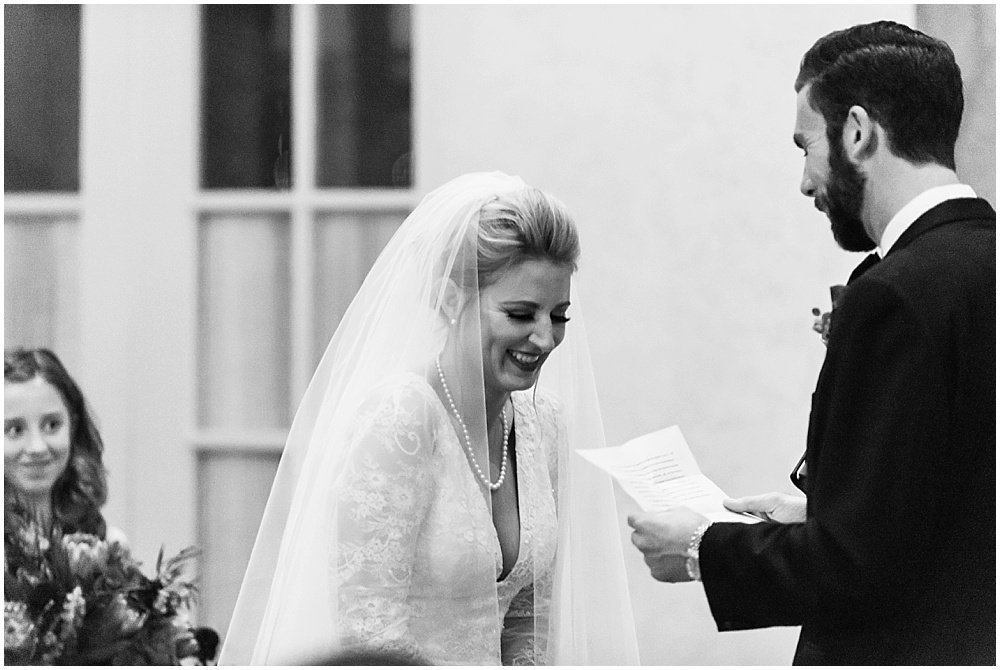 Groom's vows make bride laugh at Olympic Club Wedding by chloe jackman photography
