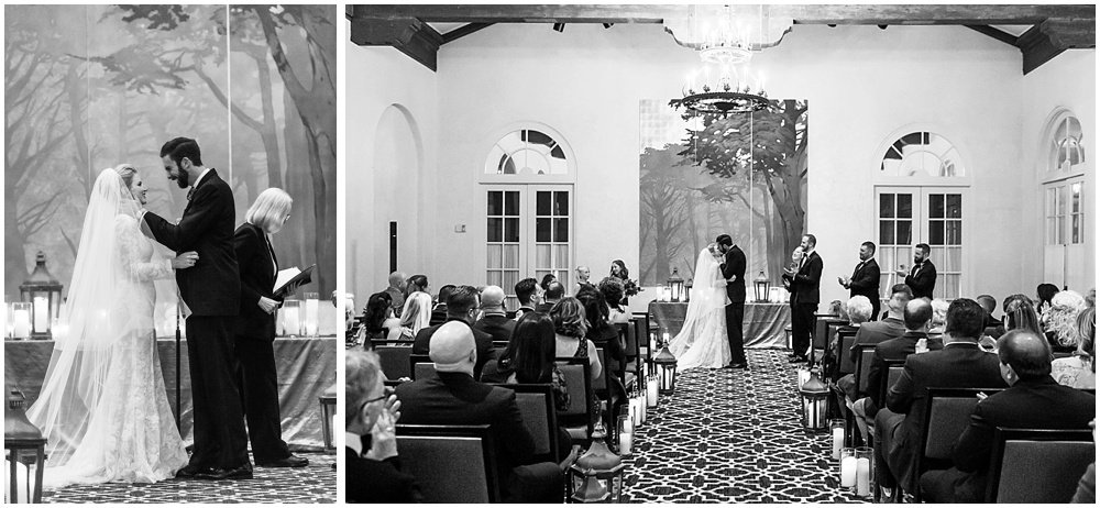 Bride and groom kiss at Olympic Club Wedding