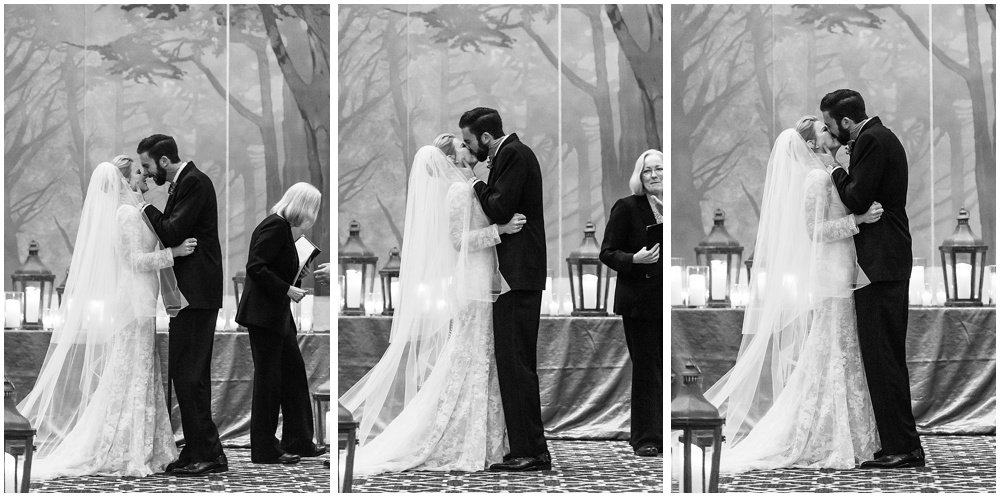 Bride and groom kiss and laugh at Olympic Club Wedding by chloe jackman photography