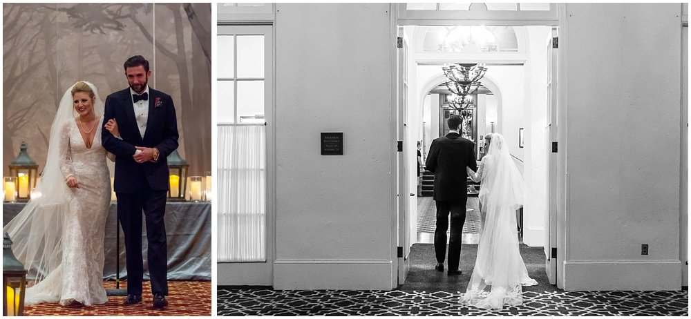 Bride and groom walk down aisle at Olympic Club Wedding