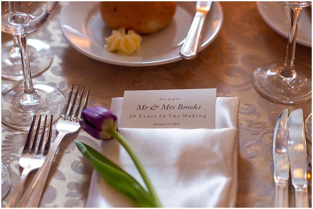 Reception menu with a tulip