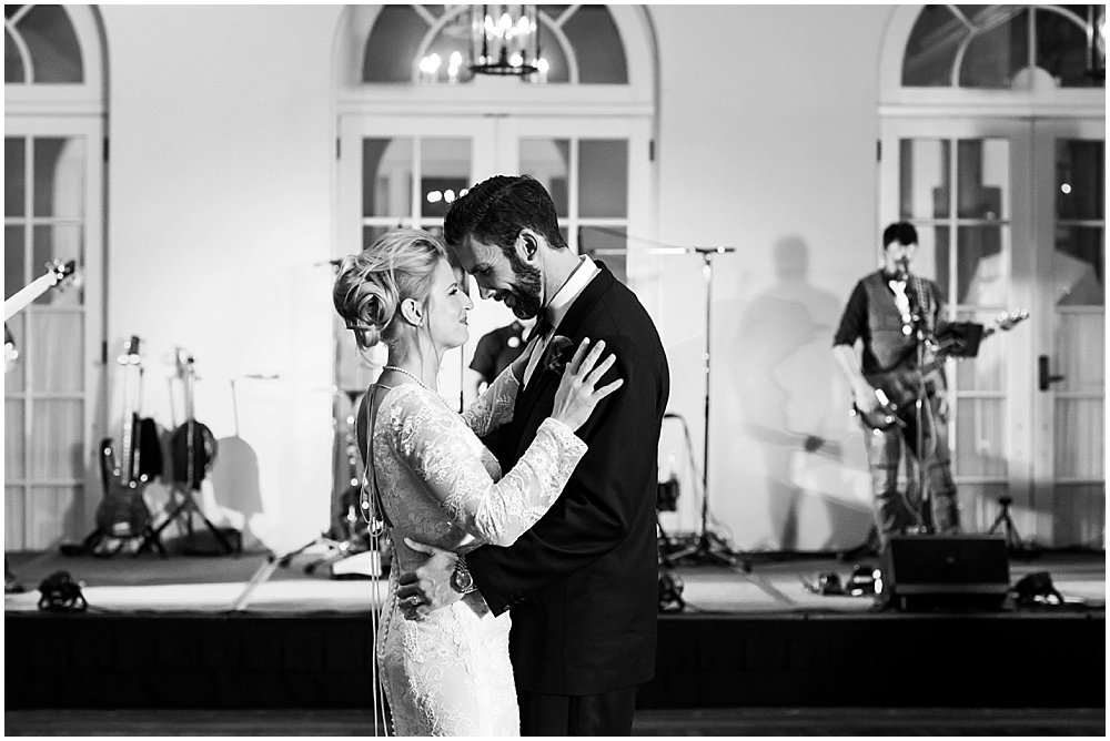 Bride and groom dance at Olympic Club Wedding reception by chloe jackman photography