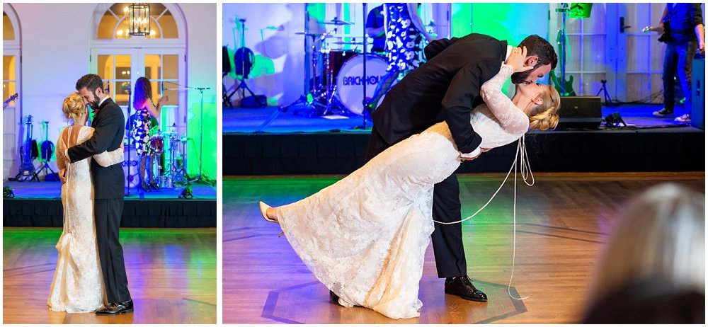 Groom literally sweeps bride off her feet during dance at Olympic Club Wedding receptio