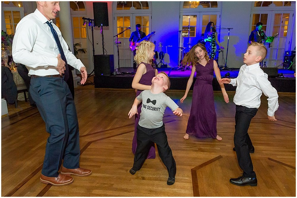 kids dancing at Olympic Club Wedding reception by chloe jackman photography