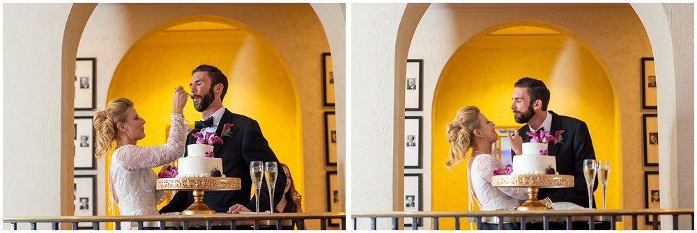Bride and groom get cake on eachothers faces during Olympic Club Wedding reception by chloe jackman photography