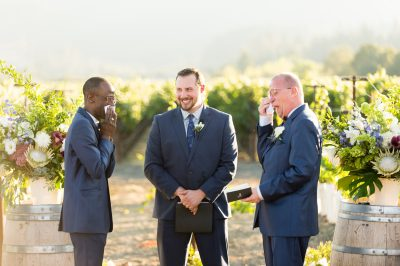 Grooms cry during tre posti wedding ceremony by chloe jackman photography