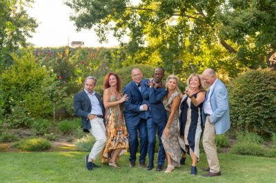 Sassy group shot before Tre Posti Wedding by chloe jackman photography