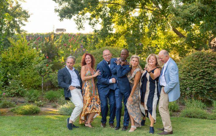 Sassy group shot before Tre Posti Wedding by chloe jackman photography